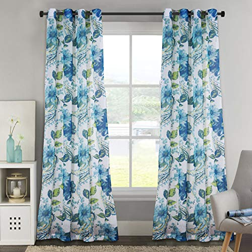 H.VERSAILTEX Linen Sheer Curtains 84 Long Home Décor Paisley Floral Printed Grommet Top Curtains Drapes for Living Room/Dining Room 52 x 84 Inches, Blue, 2 Panels