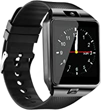 Qidoou Smart Watch Bluetooth Fitness Tracker Android iOS Compatible Smartwatch of SIM SD Card Slot, Waterproof Pedometer Sleep Calorie Monitor Call/Message Music Clock for Women Kids Men (Black)