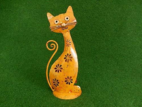 Trendshop-online Windlicht Katze aus Metall 26 cm Gelb Dekofigur für draußen Gartenfigur Skulptur Dekoration Kater