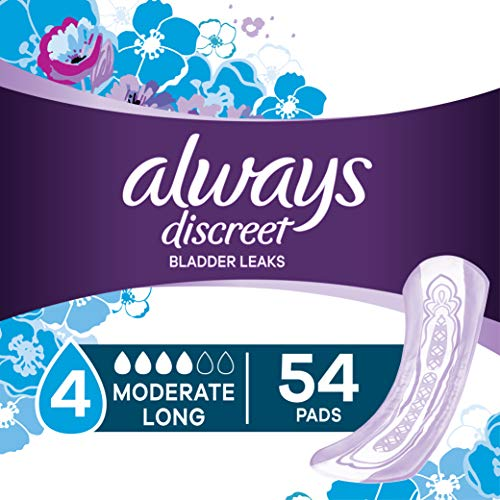 Always Discreet Incontinence Pads for Women, Moderate Absorbency, Long Length, 54 Count