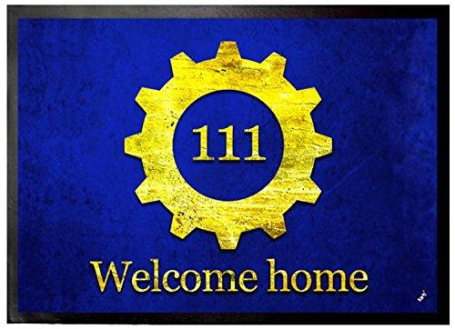 1art1 Logos - Vault 111, Bienvenido A Casa Felpudo Alfombra (70 x 50cm)