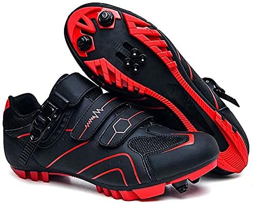 KUXUAN Calzado de Ciclismo para Hombre,Zapatos de Montar en Bicicleta de Carretera MTB, Zapatillas Deportivas Compatibles con Tacos Transpirables con Hebilla,Red-37