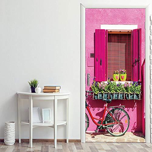 JIANXIQT deurstickers voor binnendeuren, citaat muursticker roze huis vensterbank plant pot 3D badkamer deur sticker Vinyl Pvc Scandinavische kunst stickers voor woonkamer slaapkamer schuifdeuren muurschildering 77x200cm