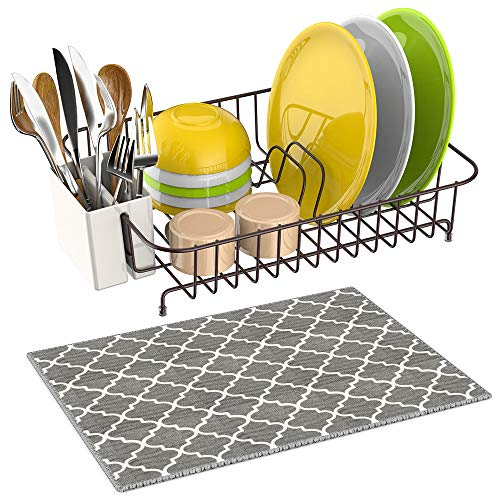 Dish Drying Rack, iSPECLE Dish Rack with Utensil Holder, Microfiber Dish Drainer Mat with Dish Rack Wire for Kitchen Counter Top, Poblished Anti Rust Dish Holder - Classic Bronze Coating