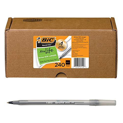 BIC Round Stic Xtra Life Ball Pen, Medium Point (1.0mm), Black, 240 Count (Pack of 1)
