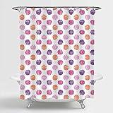 Aliyz Einfache Candy Style Polka Dots Duschvorhang, Bunte handgezeichnete Skizze geometrische Muster Home Decorations, waschbare Polyester Badzubehör mit Haken, lila rosa, 72 x 72 Zoll