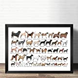 QINGRENJIE Wall Art Picture Canvas Print Poster Razas de Perros El Diagrama de Dog Art Canvas Poster Pictures para la decoración de la Sala de Estar 42 * 60Cm sin Marco