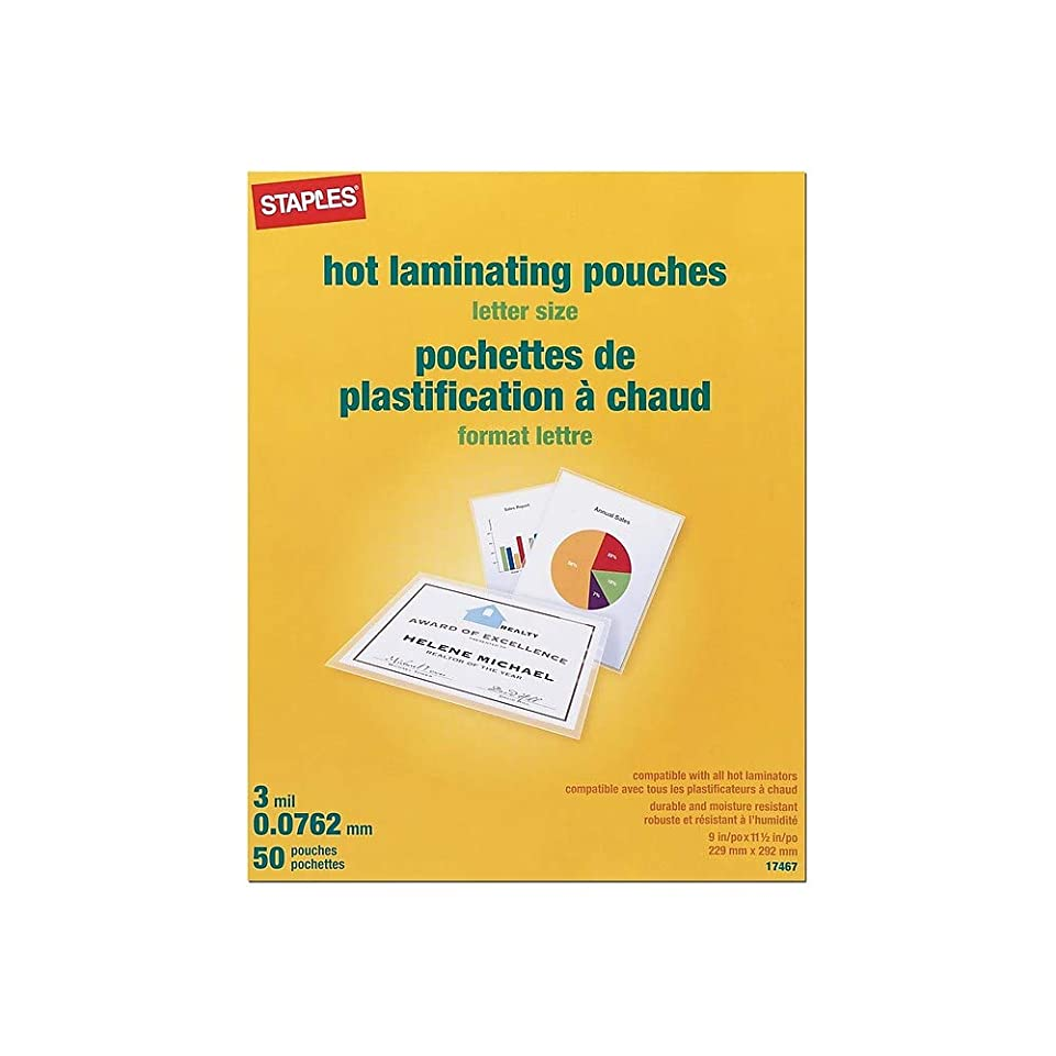 名誉ある死傷者成功Staples Letter Size Thermal Laminating Pouches, 3 mil, by Staples