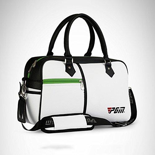 Bolsa de golf de la PU Bolsa de ropa de golf resistente al desgaste impermeable para las mujeres de los hombres de viaje Bolsa de ropa con zapatos separados Bolsa de tienda (blanco)