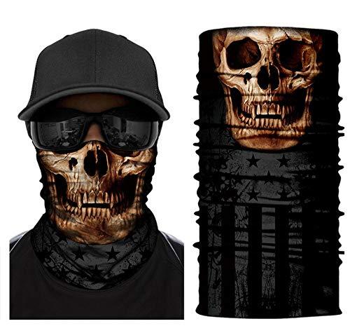 New DianDianwl Men Women Skull Headband Scary Bandana Sunscreen Breathable Face Mask Soft Magic Tube...