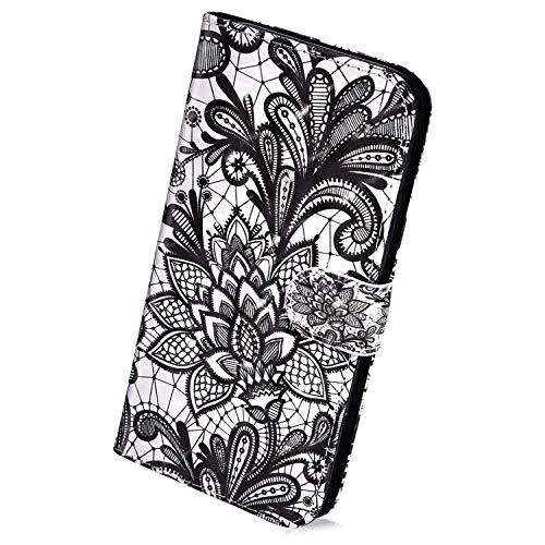 Herbests Kompatibel mit Samsung Galaxy A9 2018 Hülle Klapphülle Leder Tasche Flip Schutzhülle Wallet Handyhülle 3D Bunt Muster Glänzend Bling Glitzer Brieftasche Handytasche Case,Schwarz Blumen