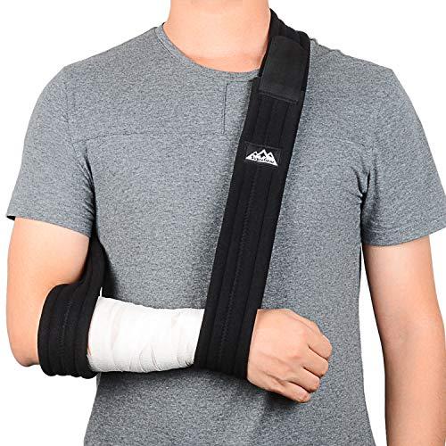 SupreGear Armschlinge, Verstellbar Leicht Komfortabel Schulterschlinge, Atmungsaktiv, Medizinische Schulterstütze für Verletzten Arm/Hand/Ellenbogen mit Innentaschen - Schwarz