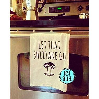 Funny Dishcloth/Tea Towel ~ Let That Shiitake Go ~ Mushroom doing Yoga ~ Funny Kitchen Cloth, Vegetable Pun