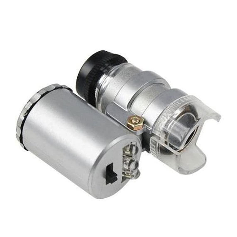 Snowmanna-60X Pocket Microscope Jeweler Magnifier Loupe Mini Illuminated Jeweler LED UV Lens Loupe