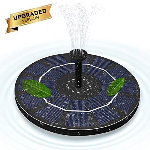 ALLOMN Solar Springbrunnen, Gartenschwimmende Solarwasserpumpe 50 cm Höhe, 4 Verschiedene Düsenköpfe, 3 Sauger, IPX8 wasserdicht, 1.8W für Gartenpflanzen