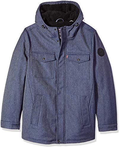 Levi's Men's Big and Tall Soft Shell Two Pocket Sherpa Lined Hooded Trucker Jacket, Denim Heather, 2XT