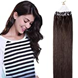 SEGO Extension Cheveux Naturel Sans Clip Loops a Froid Fil Invisible Human Hair [0.5g * 100 Mèches] Rajout Humains Micro Beads Ring 100% Remy - 18'/45CM 02#Châtain Foncé