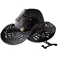 Sonoma - Deadwood Trading | Raffia Straw Cowboy Hats for Men & Women | Hit The Beach in Cowgirl Style | Cute Summer Hat w/Shapeable Brim, Metal Concho & Adjustable Chin Strap (Medium - Black)