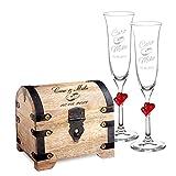 Casa Vivente Set Cofre de Madera Clara y 2 Copas de Champagne Juego Personalizado con 2...
