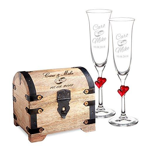 Casa Vivente Geschenkset zur Hochzeit – Sektgläser und große Schatztruhe mit Gravur – Motiv Ringe – Personalisiert mit Namen und Datum – Hochzeitsgeschenke für Brautpaar