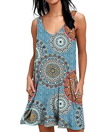 DEMO SHOW Damen Kleider Sommer Freizeit Ärmelloses Blumenmuster Strandkleid Tank Kleid mit Taschen (Runde Blumen Blau, L)