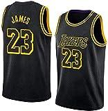 DCC Lebron James Jersey NO.23 de Baloncesto, Lakers, Nuevo Tejido Bordado # 23 Swingman de Malla (Negro, XL)