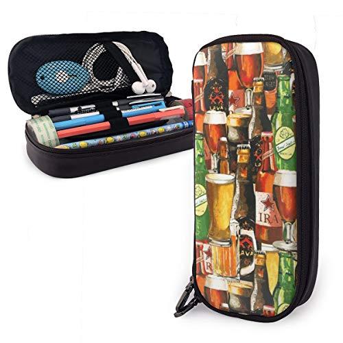 Estuche para bolígrafos de gran capacidad para guardar artículos de papelería de estudiantes duraderos con cremallera y bolsa de suministros de oficina para niños y niñas, diseño vintage de botellas de cerveza