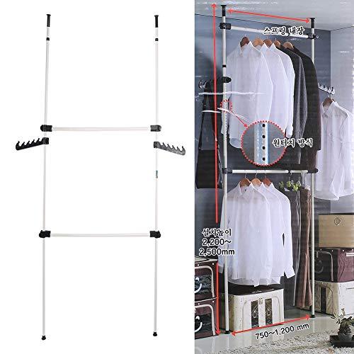 Sistema de Perchero Extensible, Perchero de Ropa Telescópico Organizador de Armario Carril de Ropa de Acero Resistente Altura Ajustable con 2 Ganchos, Carga de 60Kg