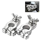 CZC AUTO Car Battery Terminal End with Wing Nut Terminal Connectors Zinc-Alloy Clamps for Car Truck Van RV Boat, 1 Pair