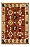 Second Nature Online Ajanta - Alfombra de algodón (180 x 270 cm), diseño geométrico, Color Crema, Naranja y Rojo