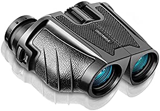 12x25 Binoculars for Adults and Kids, Compact Waterproof Binocular with BAK4 FMC Lens, High Power Easy Focus for Bird Watching, Outdoor Hunting, Travel (Grey)