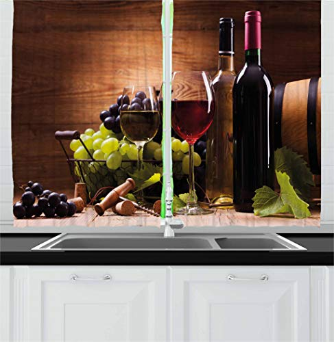 """Ambesonne Wine Kitchen Curtains, Glasses of Red and White Wine Served with Grapes French Gourmet Tasting, Window Drapes 2 Panel Set for Kitchen Cafe Decor, 55"""" X 39"""", Brown Ruby"""