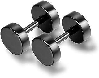 Pair Flat Round Barbell Earrings Stud Plug Stainless Steel Piercing Jewellery