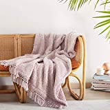 """Ultra Soft Cozy Sherpa Throw Blanket, Light Weight Warm Decorative Throw Blanket with Tassel, 2 Tones Ombre Dusty Pink Pattern Reversible Boho Style Blanket for Sofa, Couch, Bedroom,Travel, 50""""x60"""""""