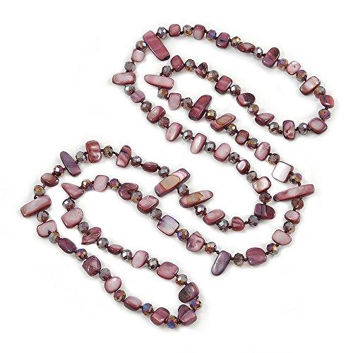 Avalaya - collana lunga, viola, con frammenti di conchiglia e perline, cristallo, lunghezza 112 cm, L