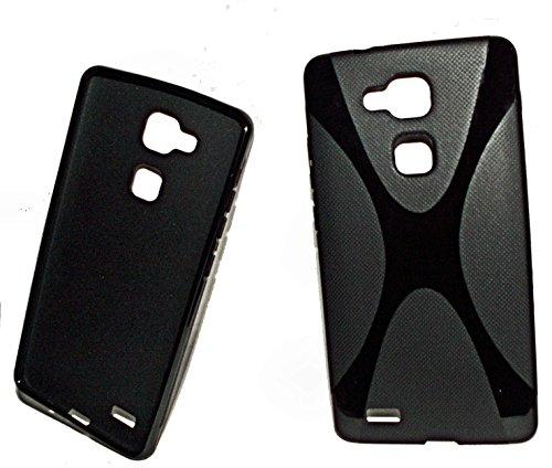 X-Rubber Style - Silikon TPU Handy Cover Hülle Schale Kappe in Schwarz - kompatibel mit Huawei Ascend Mate 7