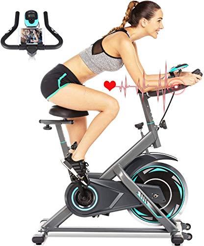 ANCHEER Bici da Spinning Cyclette con Volantino di Inerzia 18 kg Display LCD, Sensore di Impuls, Collega con l App Manubrio e Sella Regolabili, Portata Massima 120 kg