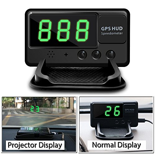 VJOYCAR C60 Hud Car GPS Speedometer, Digital Head Up Display Windshiled Projector MPH KM/H Over Speeding Alarm, 100% Universal for All Vehicle Car Bus Truck Bike Scooter ATV UTV