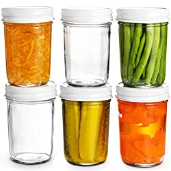 6 glass ball jars with white lids