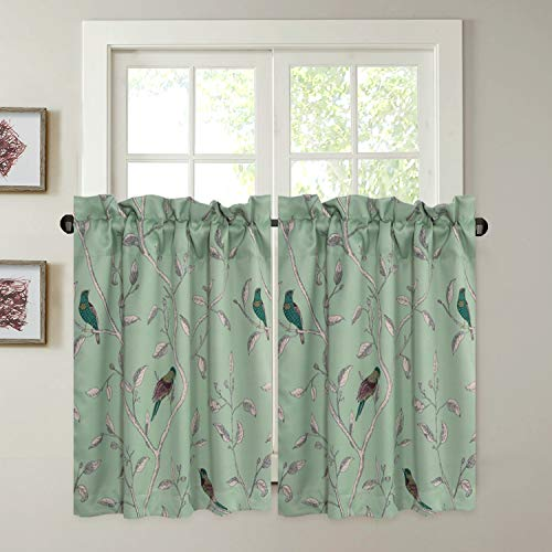 Window Treatment Short Curtains - Pair of Home Decor Thermal Insulated Energy Smart Half Window Drapes Blackout Rod Pocket Curtain Panels - Turquoise Blue Birds Pattern - (58W x 45L Pair)