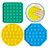 3 Pcs Bubble Squeeze Sensory Fidget Toy Stress Reliever Silicone Squeeze Pop Sensory Toy for Kid and Adult, Special Needs Stress Reliever Toys