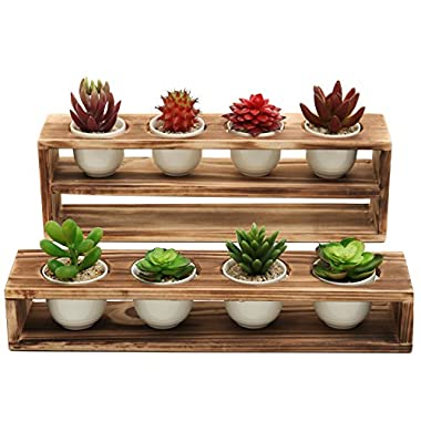 MyGift Rustic Burnt Wood Tiered Succulent Planter Stand with 8 Mini White Ceramic Plant Pots, Set of 2