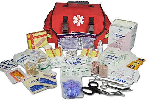 Lightning X Small Medic First Responder EMT Trauma Bag Stocked First Aid Trauma Fill Kit A (Red)