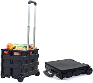 Wheeled Collapsible Handcart with Black Lid Rolling Utility with Seat Heavy Duty Ligh Rolling Collapsible Storage Utilityc...