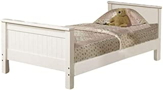 Benjara Wooden Twin Size Panel Bed with Beadboard Headboard and Footboard, White,