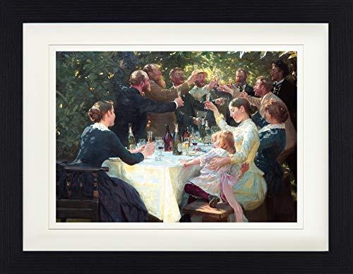 1art1 Peter Severen Kroyer - Hip, Hip, Hurra! Künstlerfest In Skagen, 1888 Gerahmtes Bild Mit Edlem Passepartout | Wand-Bilder | Kunstdruck Poster Im Bilderrahmen 40 x 30 cm