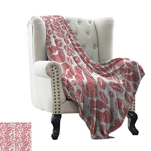 LsWOW - Manta de colchón romántica, diseño de flamencos, con Corazones, con Cabezas, Amor, Animales, San Valentín, ilustración artística, Color Rosa pálido, Gris cálido e hipoalergénico, Lavable