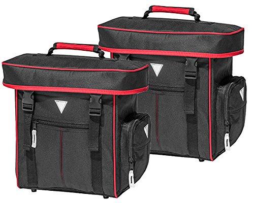 4Uniq Fahrradtasche Gepäckträger Tasche 2er Set Verschiedene Versionen (schwarz/rot)