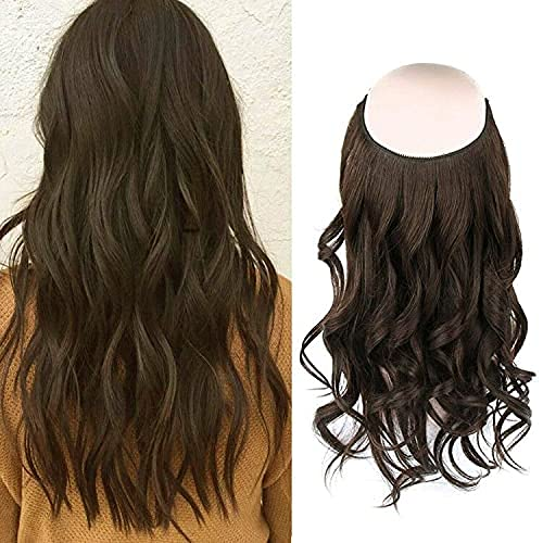 Sassina Remi Halo Hair Extensions Real Human Hair Thick, Dark Brown Color #2 Hair Extensions One Piece Fish Line For Women 120G 20 Inch