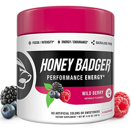 Honey Badger Performance Energy Natural Pre Workout for Men & Women (Wild Berry, 30 Servings, Sugar Free, Sucralose Free, Naturally Flavored & Sweetened, No Dyes, Beta-Alanine, Citrulline)